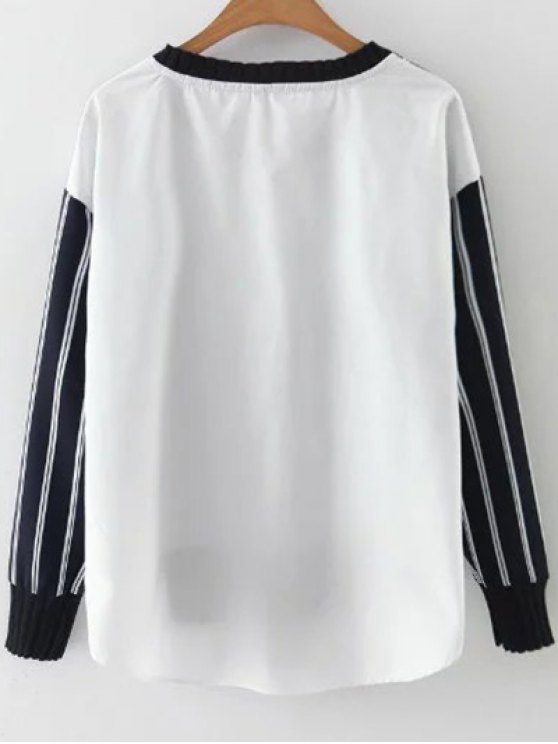 Stripes Spliced High Low Sweatshirt - BLUE AND WHITE L Mobile