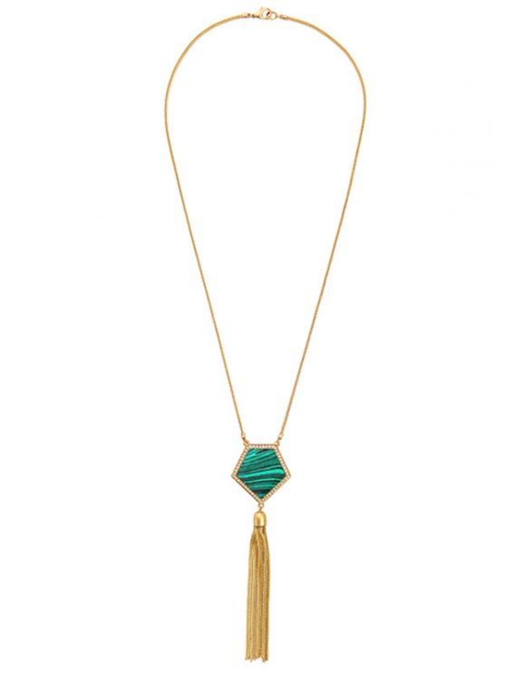 Pentagon Faux Gem Tassel Sweater Chain -   Mobile