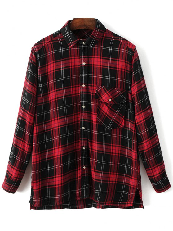 Dragon Embroidered Tartan Shirt - PLAID M Mobile