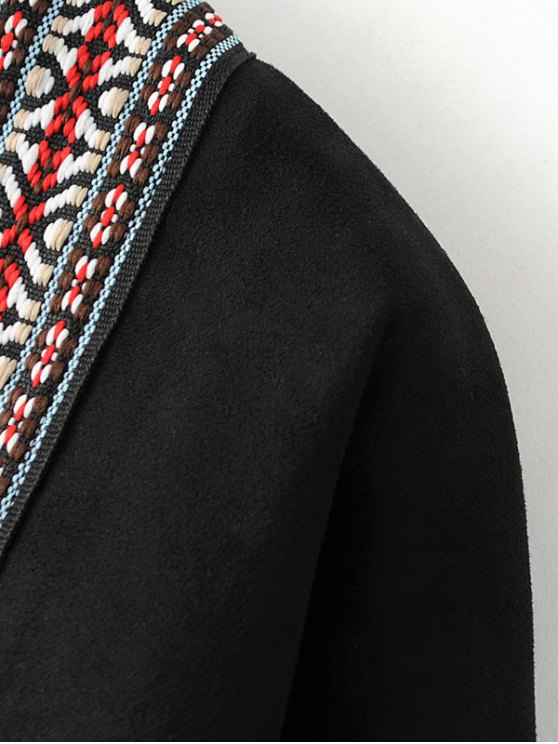 Faux Suede Fringe Coat - BLACK ONE SIZE Mobile