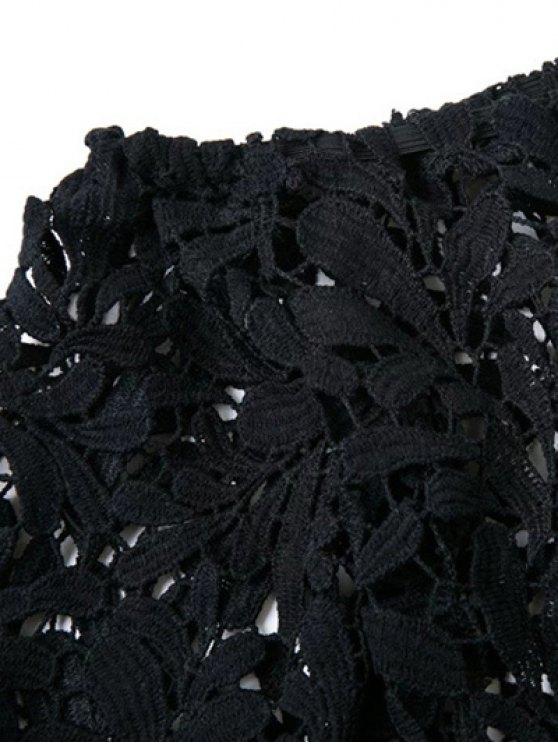 Off Shoulder Openwork Lace Hook Top - BLACK S Mobile