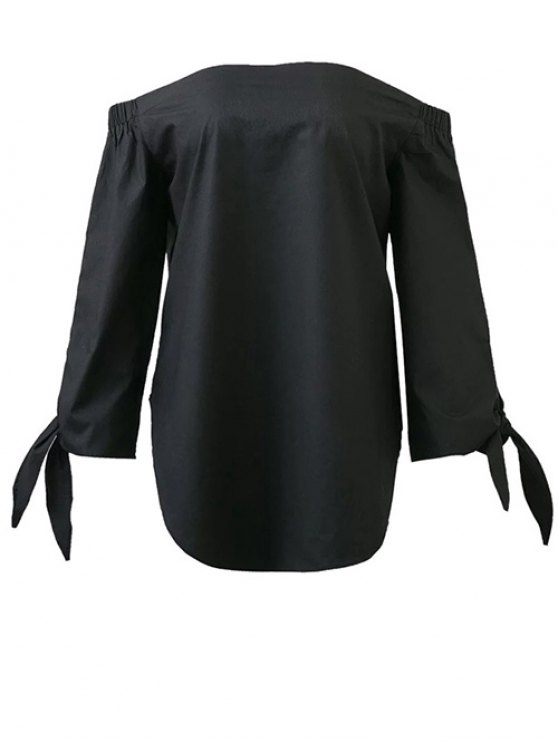 Tied Sleeve Off Shoulder Blouse - BLACK L Mobile