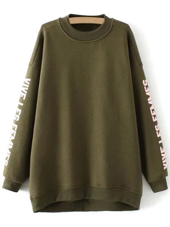 Fleece Letter Pattern Sweatshirt - ARMY GREEN M Mobile