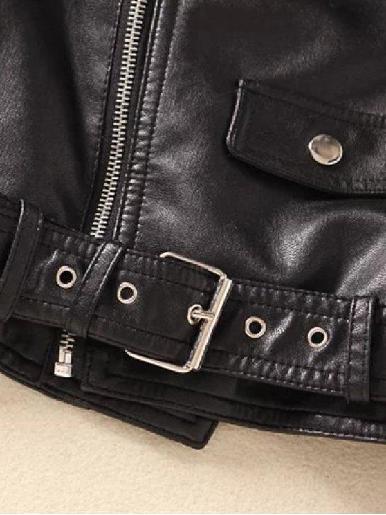 Off Shoulder Zippered Biker Jacket - BLACK L Mobile