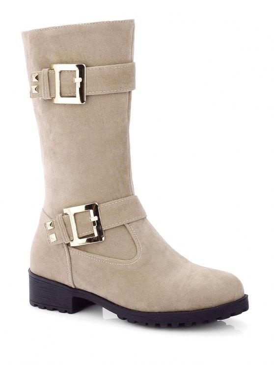 Zipper Double Buckle Metal Mid-Calf Boots - LIGHT KHAKI 38 Mobile