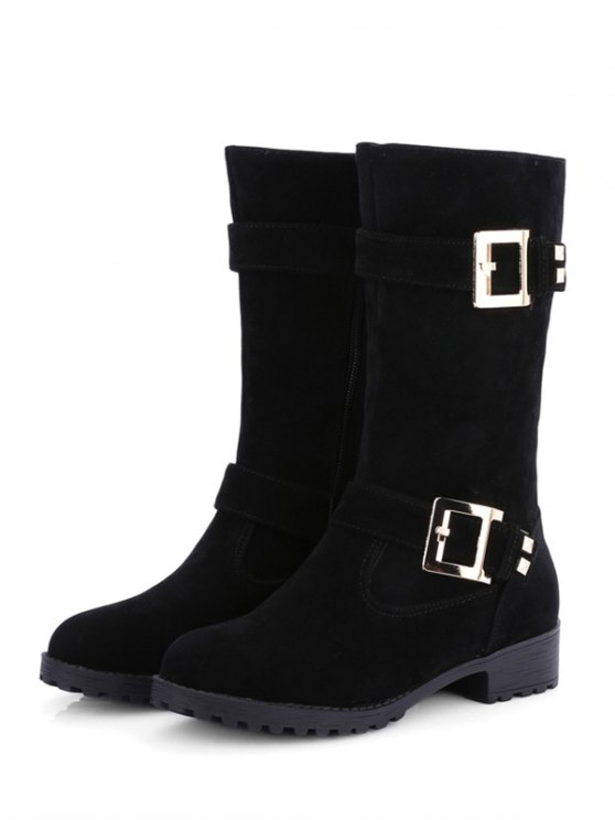 Zipper Double Buckle Metal Mid-Calf Boots - BLACK 38 Mobile