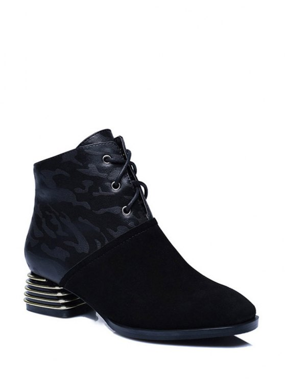 Suqare Toe Lace Up Splicing Ankle Boots - BLACK 39 Mobile