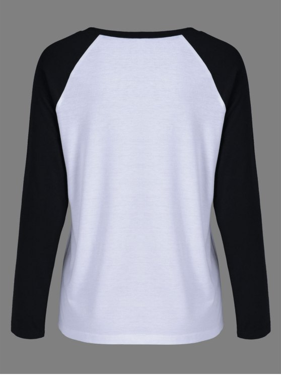 Raglan Sleeve Graphic Baseball Tee - WHITE AND BLACK L Mobile