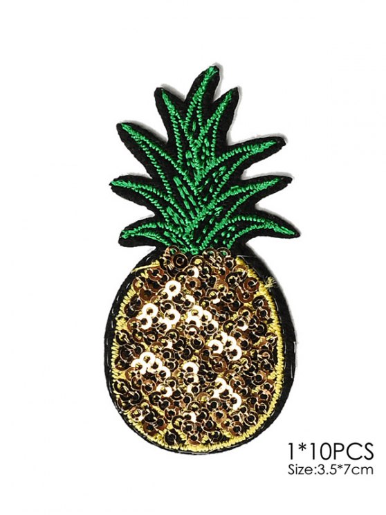 10 PCS Pineapple Design Embroidered Patches - YELLOW  Mobile