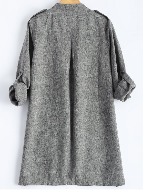 Plus Size Trench Coat - GRAY XL Mobile