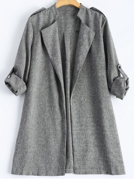 ladies Plus Size Trench Coat - GRAY XL