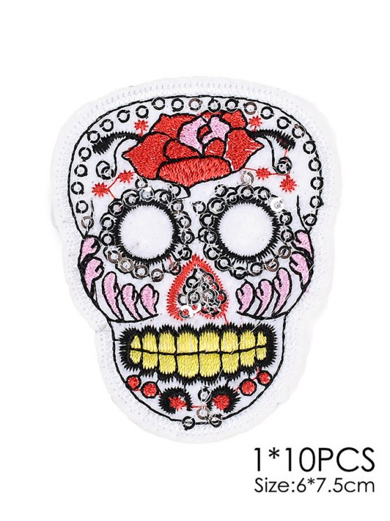 10 PCS Skull Design Embroidered Patches -   Mobile
