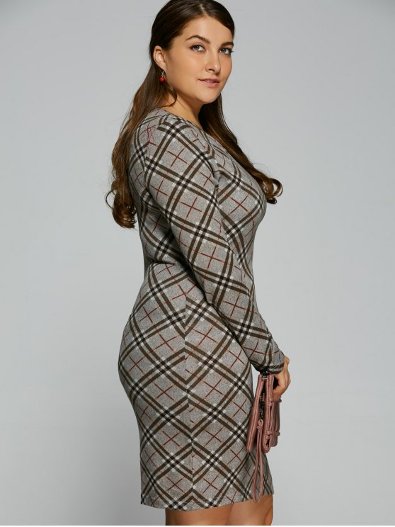 Long Sleeve Plaid Sheath Tee Dress - CHECKED 2XL Mobile