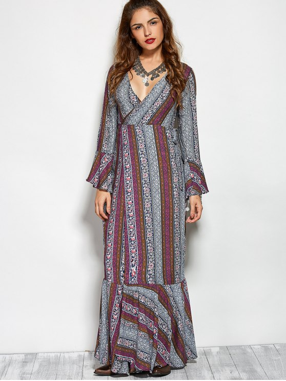 Printed High Slit Crossover Ruffle Bohemian Dress - COLORMIX L Mobile