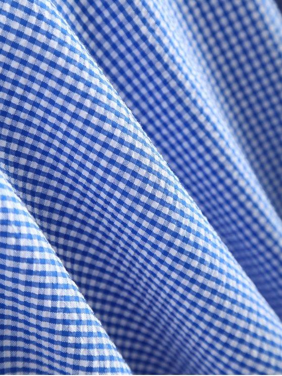 Peplum Hem Checked Midi Skirt - BLUE AND WHITE M Mobile