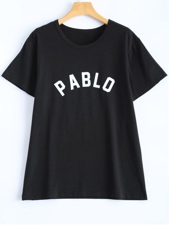 Casual Streetwear Letter T-Shirt - BLACK L Mobile