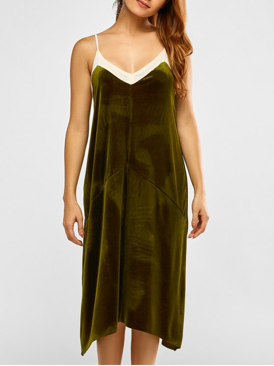Malla Cami Ribete de terciopelo vestido - Verde S