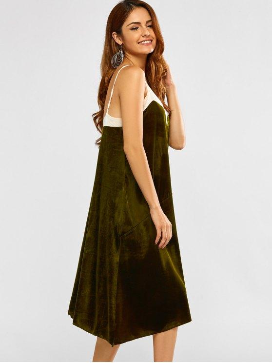 Mesh Trim Velvet Cami Dress - GREEN M Mobile
