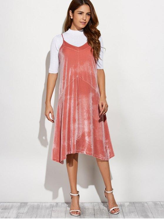 Loose Velvet Midi Dress - PINK ONE SIZE Mobile