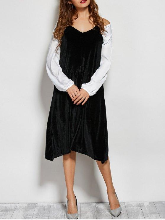 ladies Loose Velvet Midi Dress - BLACK ONE SIZE