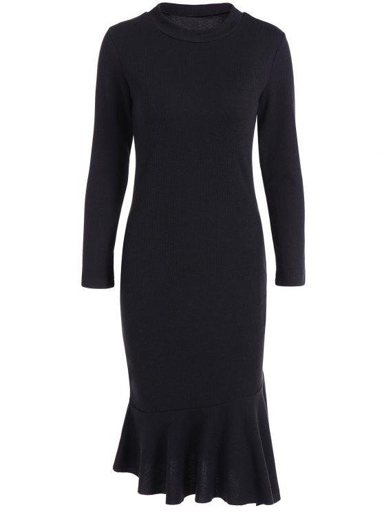 unique Mermaid Sweater Dress - BLACK 3XL