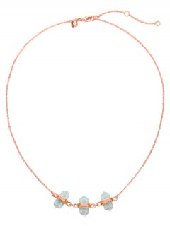 Concise Faux Crystal Pendant Necklace - Rose Gold