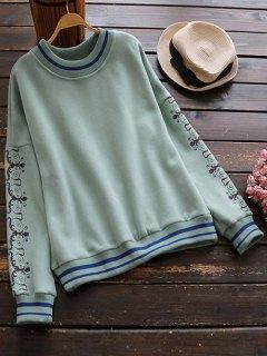Printed Sleeve Oversized Sweatshirt - Green M