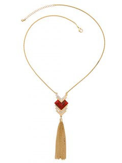 Faux Ruby Heart Tassel Sweater Chain - Golden