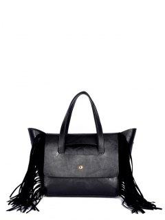 Fringe Winged PU Leather Handbag - Black
