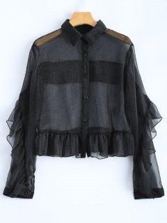 Chemise  Fine Avec Volanté - Noir 2xl