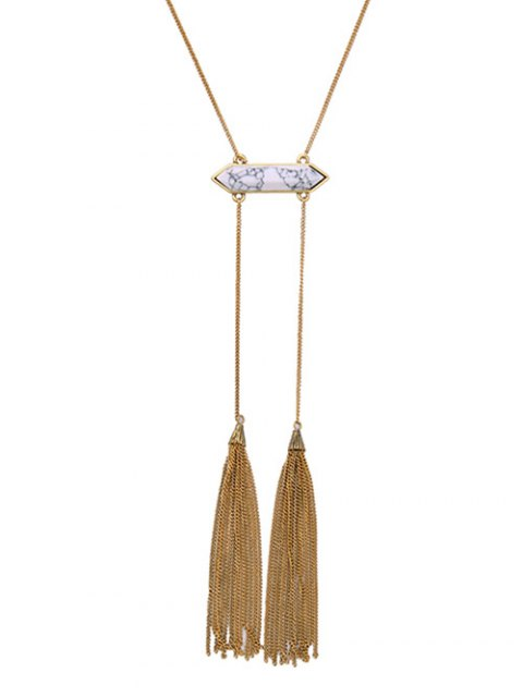shop Concise Double Tassel Sweater Chain - GOLDEN  Mobile