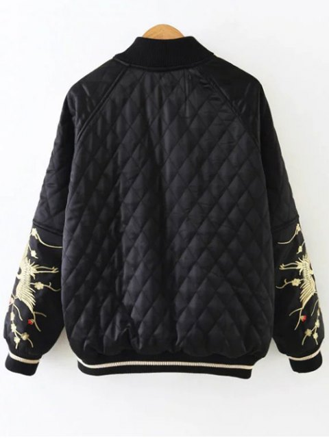 online Embroidered Argyle Jacket - BLACK L Mobile