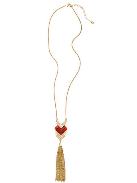latest Faux Ruby Heart Tassel Sweater Chain - GOLDEN  Mobile