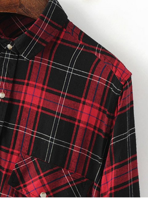 women Dragon Embroidered Tartan Shirt - PLAID M Mobile