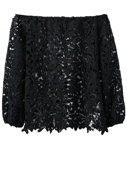 chic Off Shoulder Openwork Lace Hook Top - BLACK M Mobile