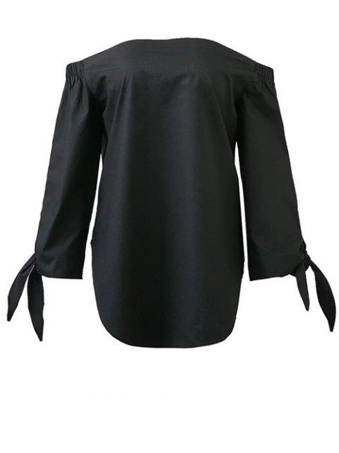 womens Tied Sleeve Off Shoulder Blouse - BLACK M Mobile