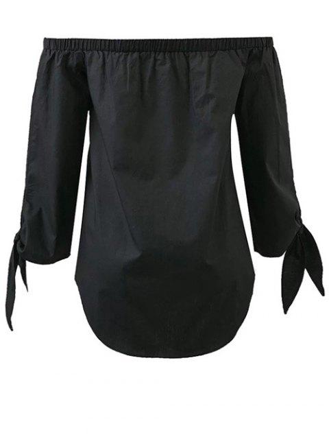 women Tied Sleeve Off Shoulder Blouse - BLACK S Mobile