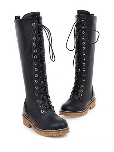 new Retro PU Leather Lace Up Mid Calf Boots - BLACK 39 Mobile