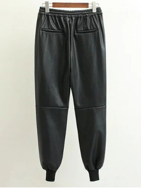 fashion Drawstring Faux Leather Jogger Pants - BLACK S Mobile