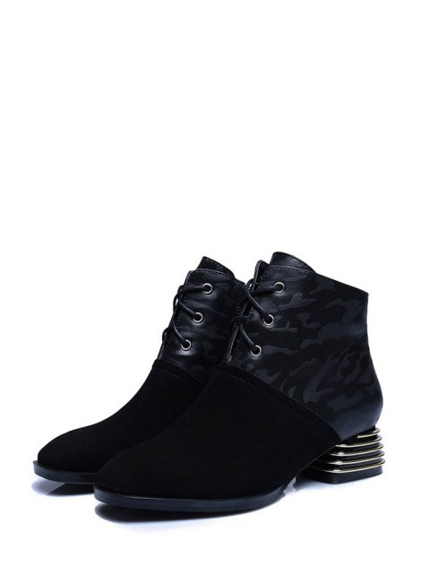 sale Suqare Toe Lace Up Splicing Ankle Boots - BLACK 39 Mobile