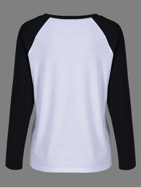 unique Raglan Sleeve Graphic Baseball Tee - WHITE AND BLACK XL Mobile