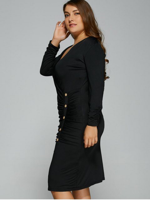 buy Button Decorated Surplice Plus Size Dress - BLACK 3XL Mobile