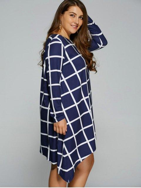 outfits Plus Size Plaid Asymmetric Dress - BLUE AND WHITE XL Mobile