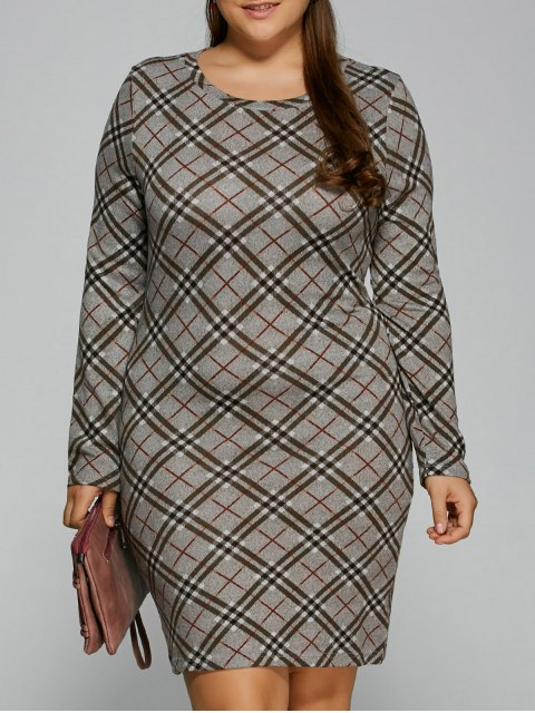 best Long Sleeve Plaid Sheath Tee Dress - CHECKED 4XL Mobile