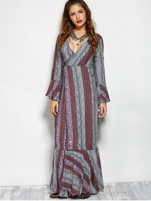 outfit Printed High Slit Crossover Ruffle Bohemian Dress - COLORMIX L Mobile