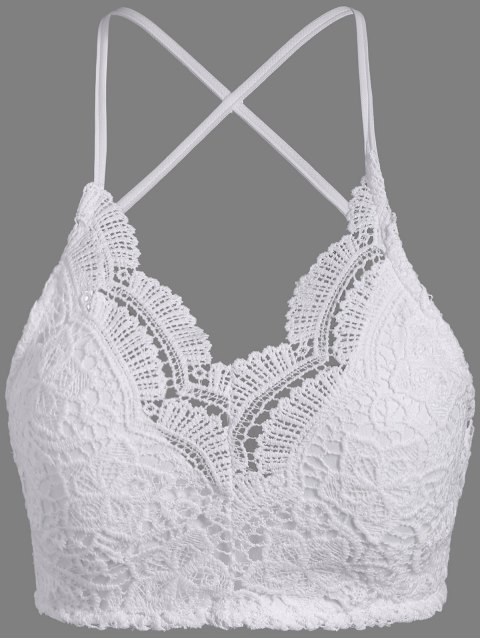 affordable Lace Padded Bra Top - WHITE ONE SIZE Mobile