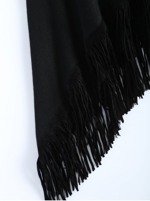 lady Fringed Hankerchief Hem Knit Poncho - BLACK ONE SIZE Mobile