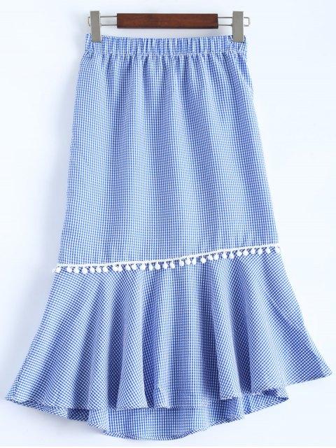 buy Peplum Hem Checked Midi Skirt - BLUE AND WHITE M Mobile