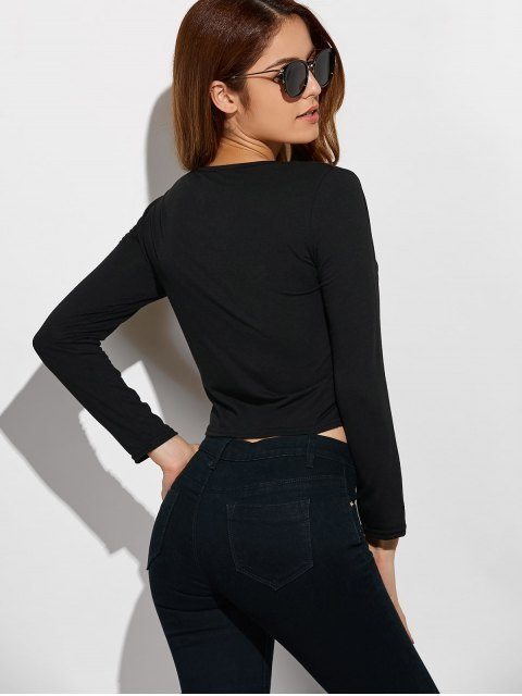 new Criss-Cross Cropped T-Shirt - BLACK S Mobile