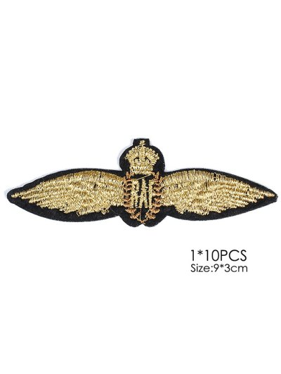 10 PCS Wings Design Embroidered Patches - GOLDEN  Mobile